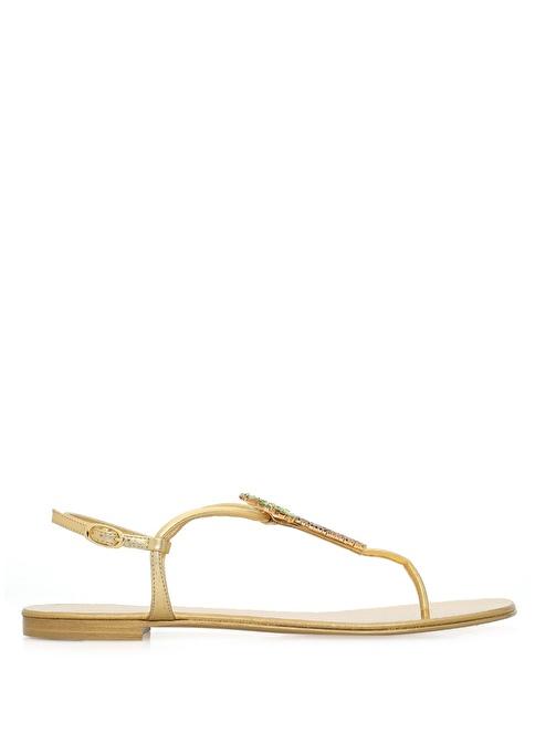 Giuseppe Zanotti %100 Deri Sandalet Altın